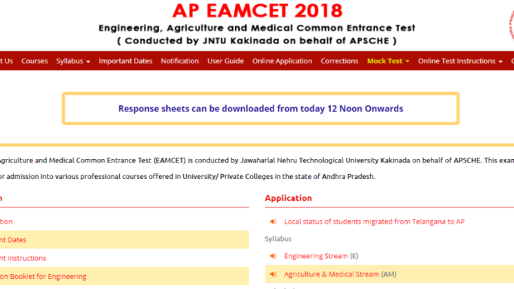 Ap Eamcet 2018 Answer Key Released At Scheapeamcet
