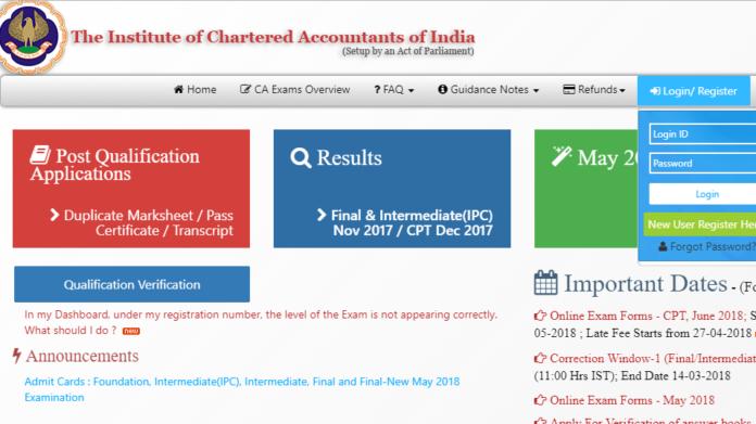 ICAI CA IPCC Admit card 2018 released at icaiexam.icai.org