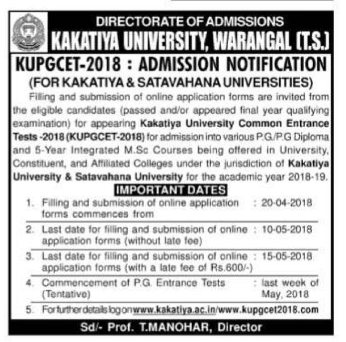 KUPGCET 2018 Admission Notification released @www.kupgcet2018.com