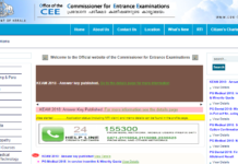 Kerala KEAM 2018 Answer Key Released at cee-kerala.org; Raise Objections before April 30