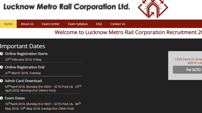 Lucknow Metro Releases SCTO Admit Card at lmrcl.com