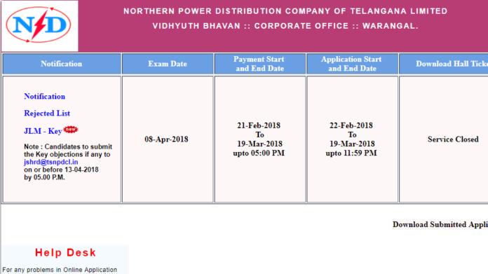 TSNPDCL JLM Answer Key 2018 released at tsnpdcl.cgg.gov.in