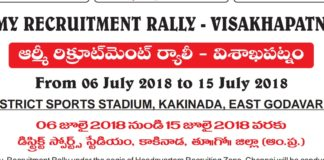AP Visakhapatnam Army Recruitment Rally 2018 at Kakinada Online Application From 21 May