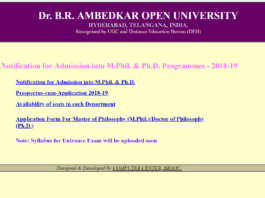 BRAOU Released Admission into M.Phil Ph.D. Programmes 2018-19