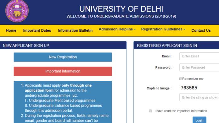 Delhi University UG Courses Admission 2018 Online Application Opened at ug.du.ac.in