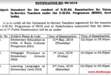 NIOS D.El.Ed Untrained In-Service Teachers Exam Time Table