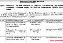 NIOS D.El.Ed Untrained In-Service Teachers Exam Time Table