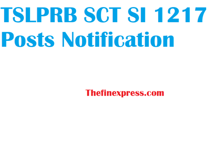 TSLPRB SCT SI 1217 Posts Notification released