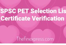 TSPSC PET (Mains) Selection List, Certificate Verification