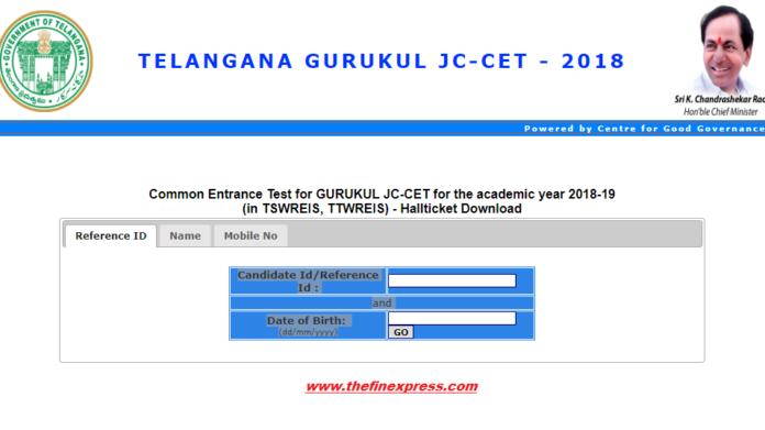 TS GURUKUL RJC CET 2018 Hall Tickets Released at tsswreisjc.cgg.gov.in