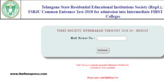 Telangana RJC CET Results, Rank Card released at tsrjdc.cgg.gov.in