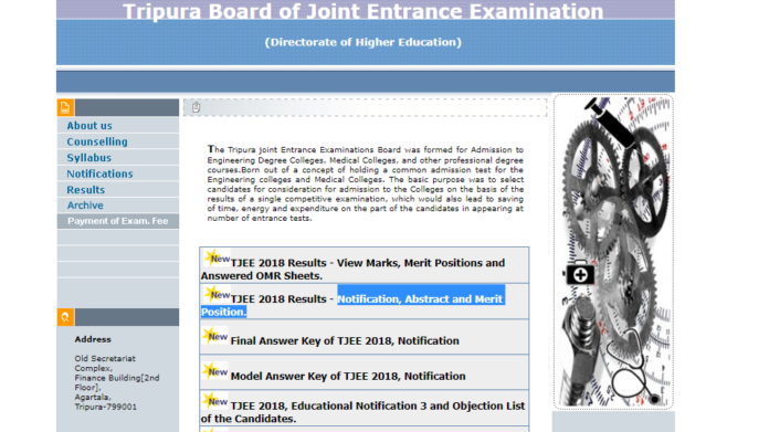 Tripura Board JEE 2018 Result, Answered OMR Sheets Declared at tripuraresults.nic.in