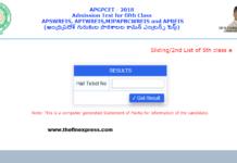 APRJC 5th Class Entrance Test 2nd Selection List