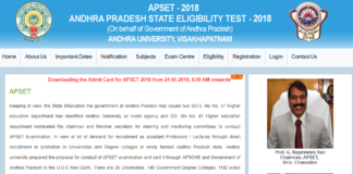 APSET Hall Ticket 2018 to be released today at apset.net.in