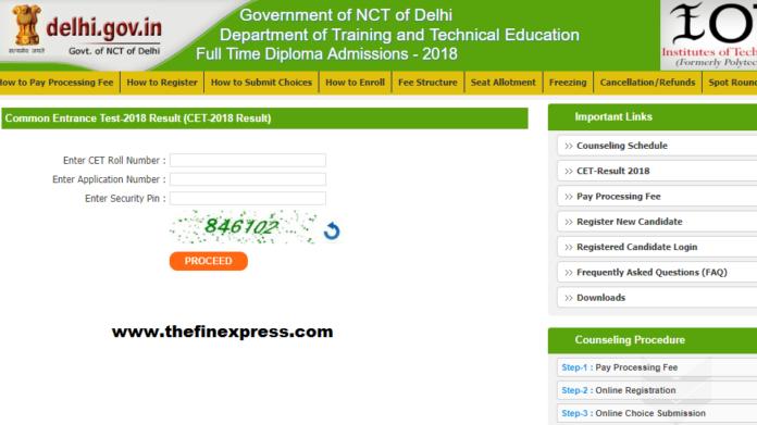 Delhi CET Polytechnic Results 2018 Download at cetdelhi.nic.in